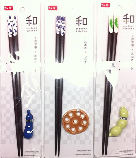百均の天然木箸と箸置きセット3種